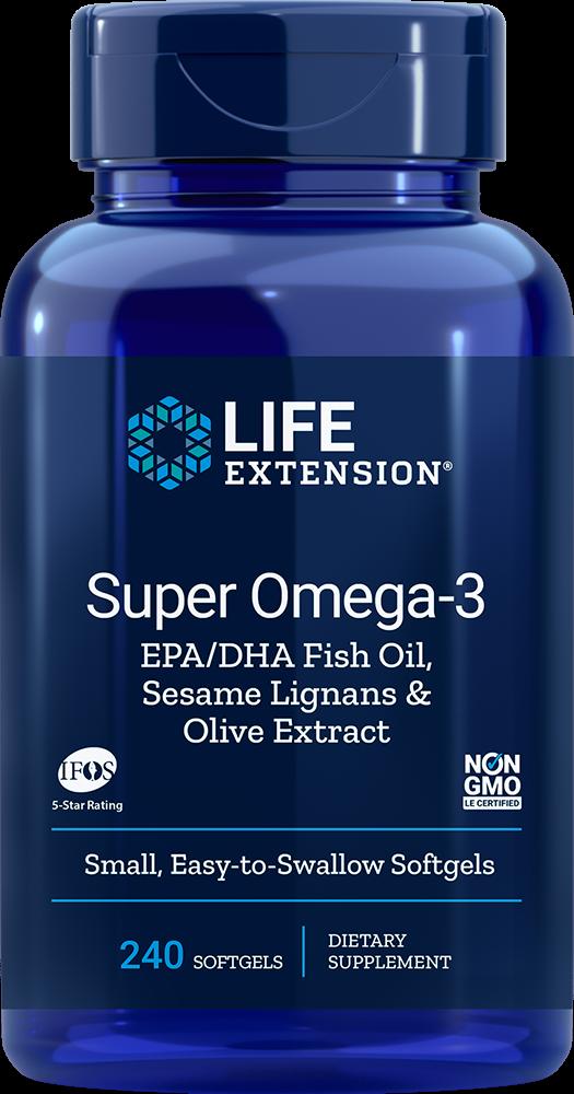Life Extension Super Omega-3 EPA DHA Fish Oil Sesame Lignans Olive Extract