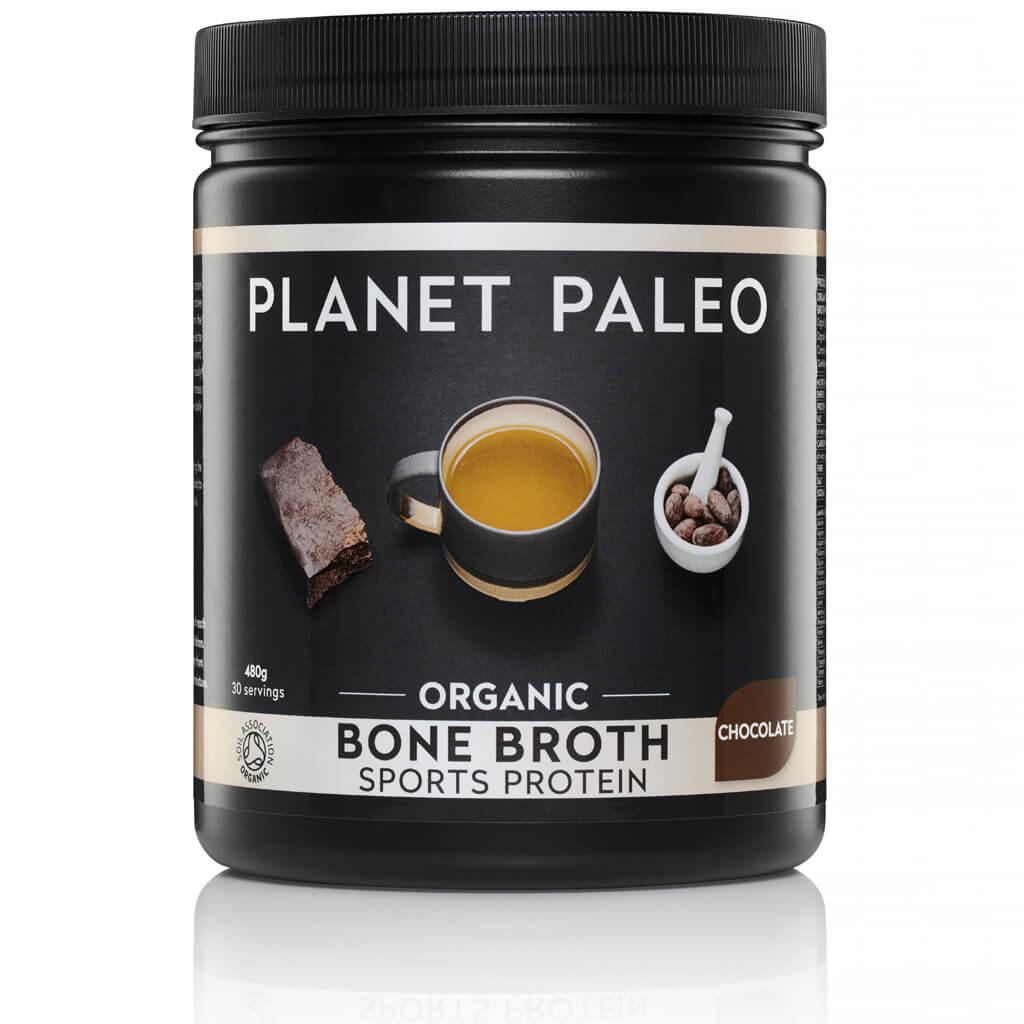 Planet Paleo Bone Broth Sport Protein Chocolate Bio 480 gram biologisch