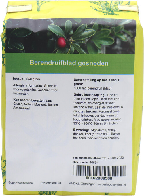 Shakthee Berendruifblad gesneden 250 gram