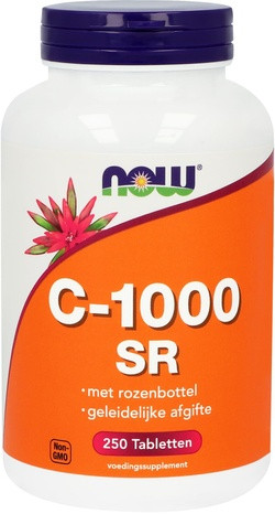 NOW Foods C-1000 Sustained Release met Rozenbottel 250 tabletten