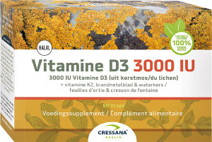 Cressana Vitamine D3 3000 IU & K2 60 capsules