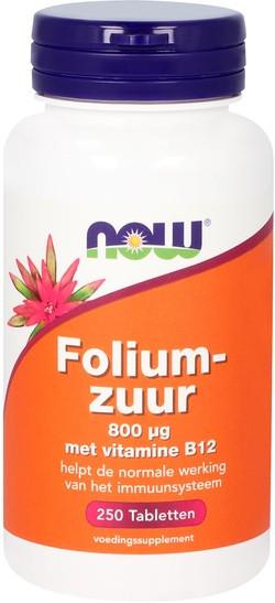 NOW Foods Foliumzuur 800 mcg 250 tabletten