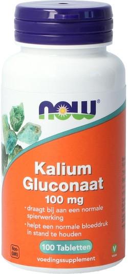 NOW Foods Kalium Gluconaat 100 mg 100 tabletten