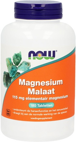 NOW Foods Magnesium Malaat 115 mg 180 capsules