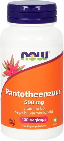 NOW Foods Pantotheenzuur 500 mg Vitamine B5 100 capsules