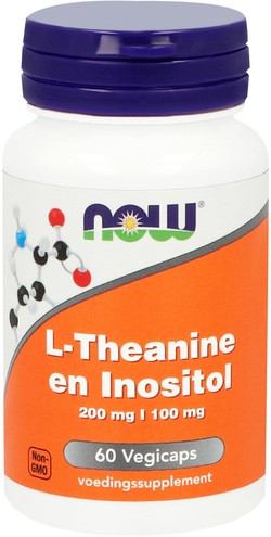 NOW Foods L-Theanine en Inositol 200 mg |100 mg 60 capsules