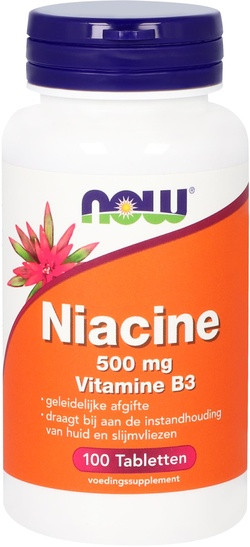NOW Foods Niacine 500 mg Vitamine B3 Geleidelijke Afgifte 100 tabletten